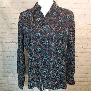 Floral Embroidered Long Sleeved Button Up Shirt 12